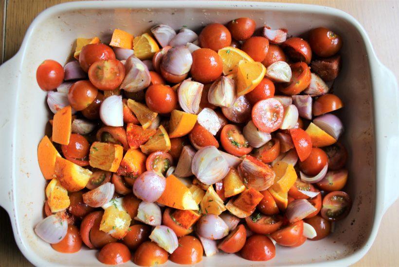 オレンジ風味のローストトマト